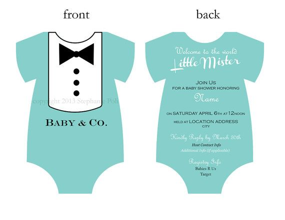 "diy customized ""breakfast at tiffany's"" baby shower dapper tuxedo, Baby shower invitation"