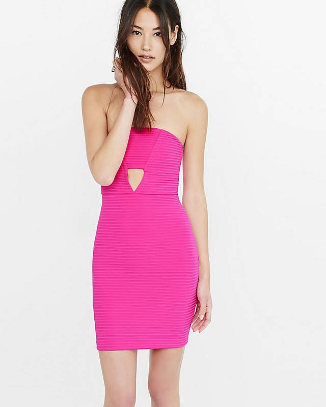 335790ff4f889 Pink Strapless Ribbed Front Cut-out Tube Dress | Express | Express ...