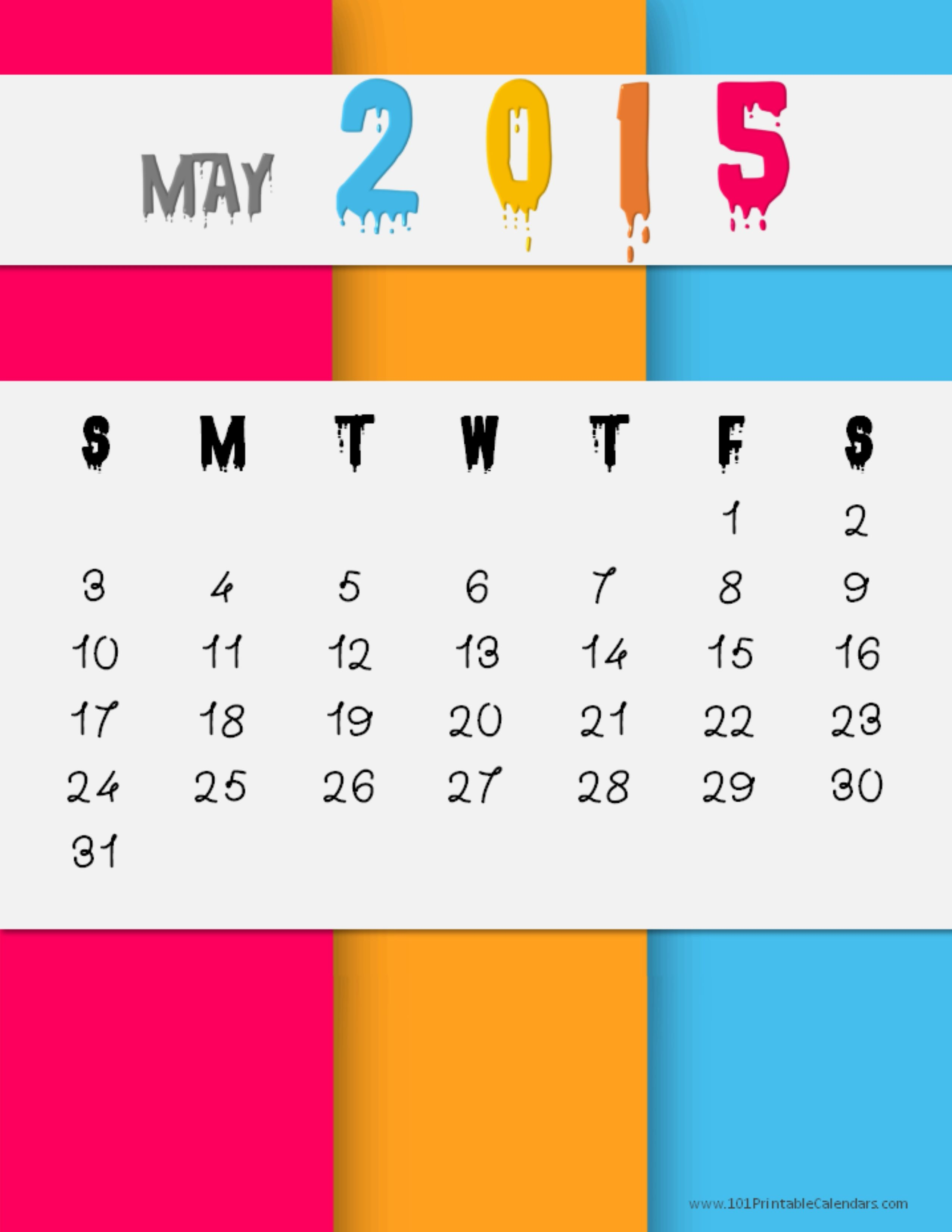 May 2015 Calendar With Holidays, Printable Pdf, Template, Excel, Doc ...