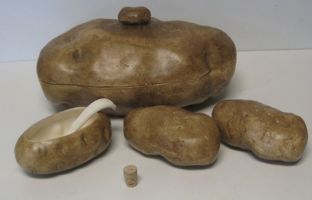 Mashed Potato & Salt/Pepper/Sour Cream Serving Dish Set Ceramic No Maker  #Handmade