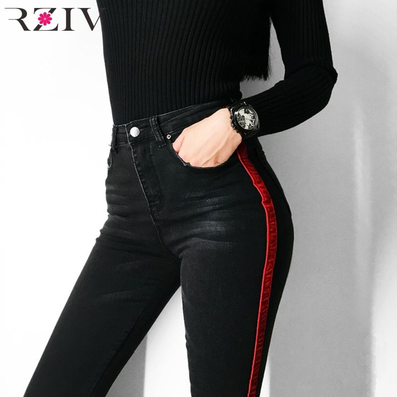 Rziv Jeans Woman Casual Stretch Denim Solid Color Stitching Waist Black Jeans And Skinny Jeans Trouser Ropa Pantalones Vaqueros Negros Jeans De Moda