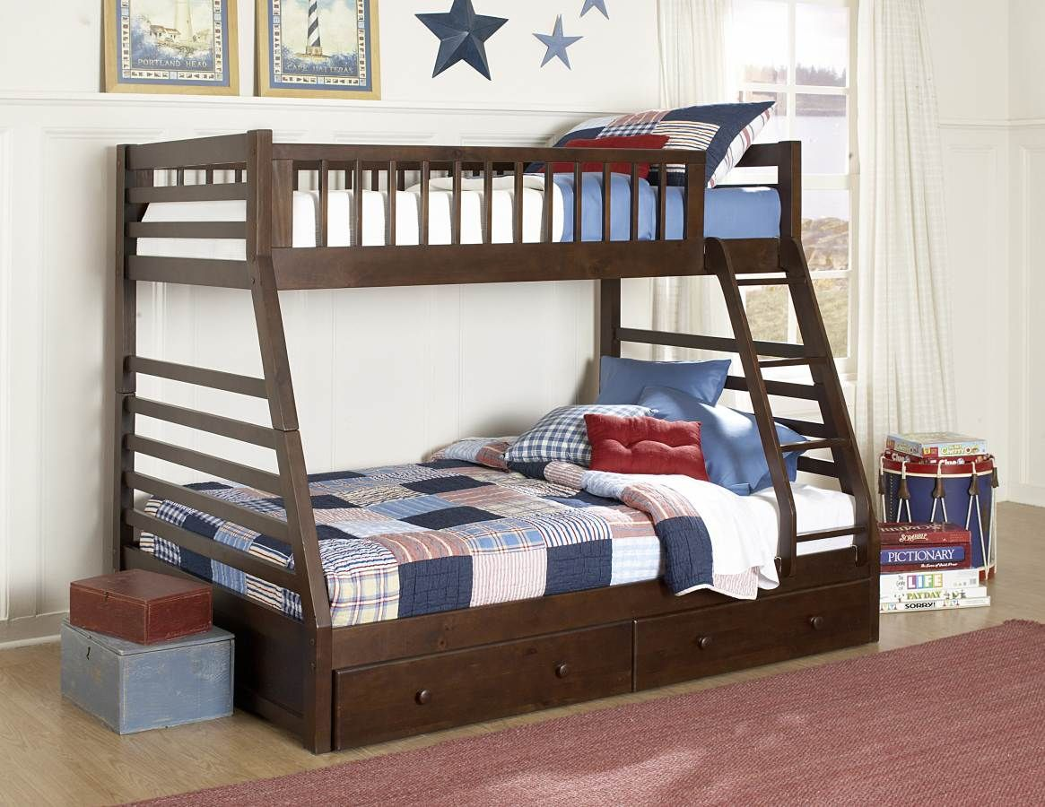 Dreamland Rich Cherry Twin Full Bunk Bed W Storage Dormitorios