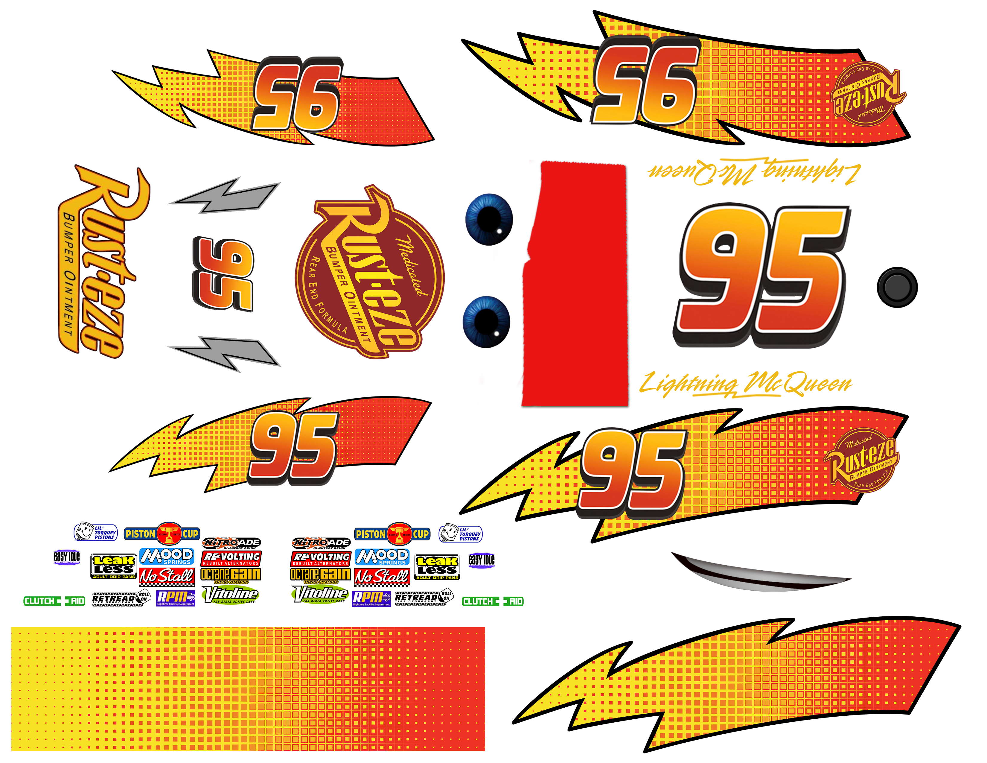 High Res Printable Decals With A Few Extra Options Based On The Designs For The Character Lightning Mcqueen From Pixar S Cool Fonts Plain Lightning Mcqueen [ 2550 x 3300 Pixel ]