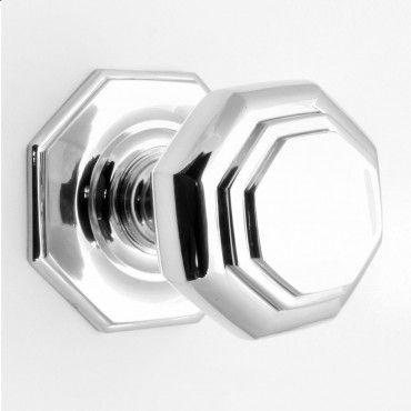 Octagonal Shape Centre Door Knob - Polished Chrome - The Brassware ...
