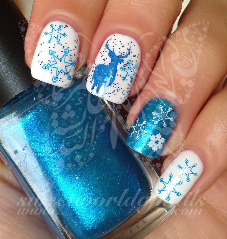 Christmas Nail Art blue and white snowflakes Blue reindeer Water ...