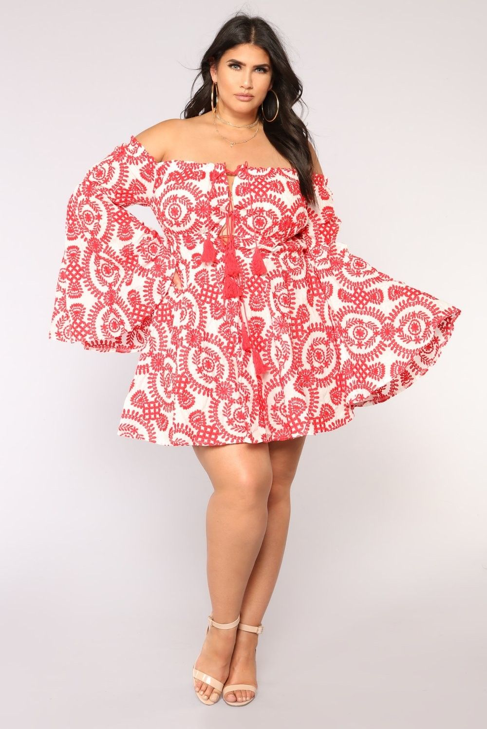 c5cfb2aa430 Plus Size Sweet Water Embroidered Dress - White Red  69.99  ootd ...