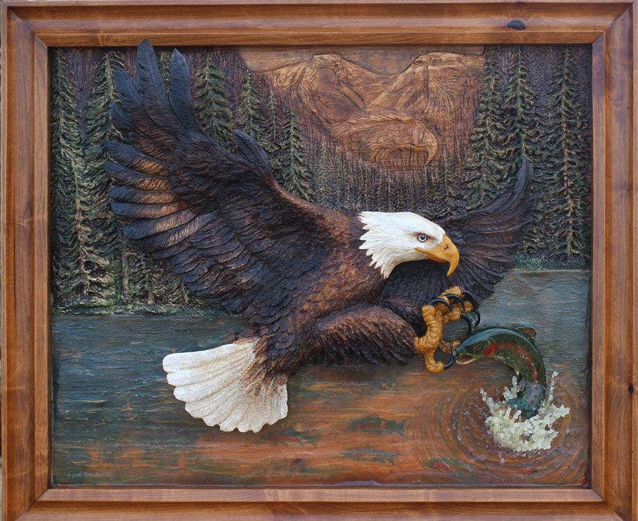 Quot on the fly is a bas relief wood carving of bald eagle