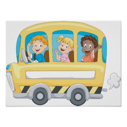 Children On A School Bus Poster Zazzle Com With Images