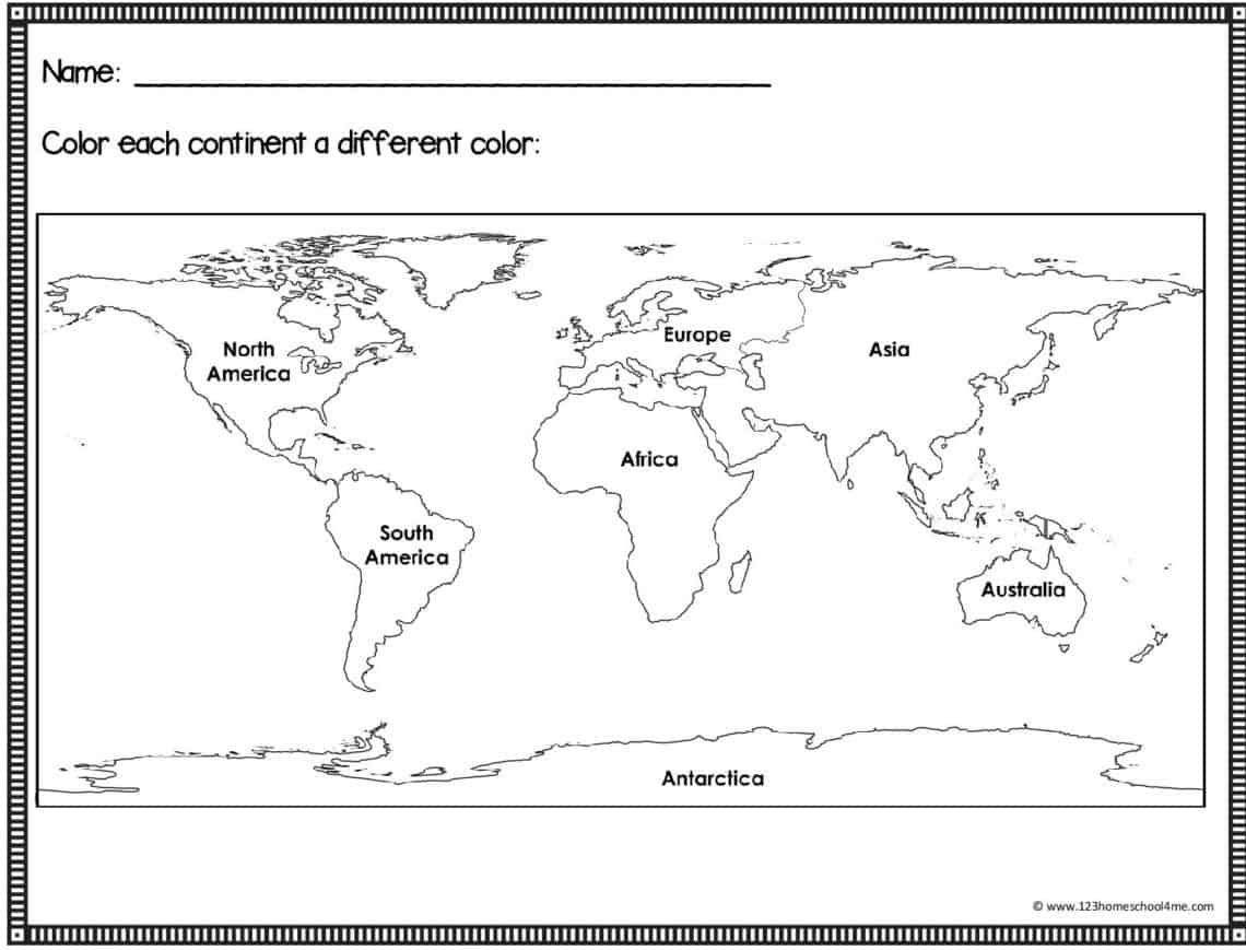 Free Printable Maps For Kids In 2020 Free Printable World Map World Map Continents World Map Crafts