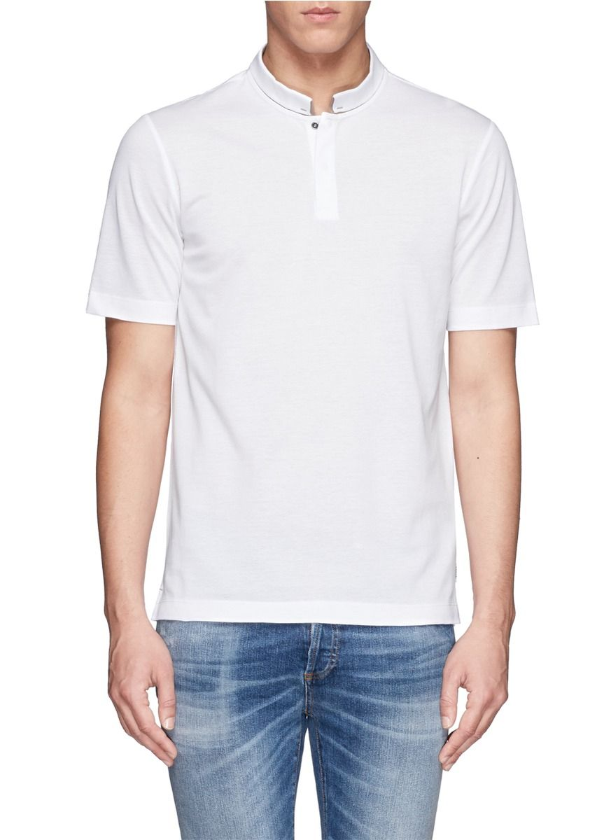 96bbb6dfc8b2 Armani Contrast Mandarin Collar Polo Shirt in White for Men | Lyst ...