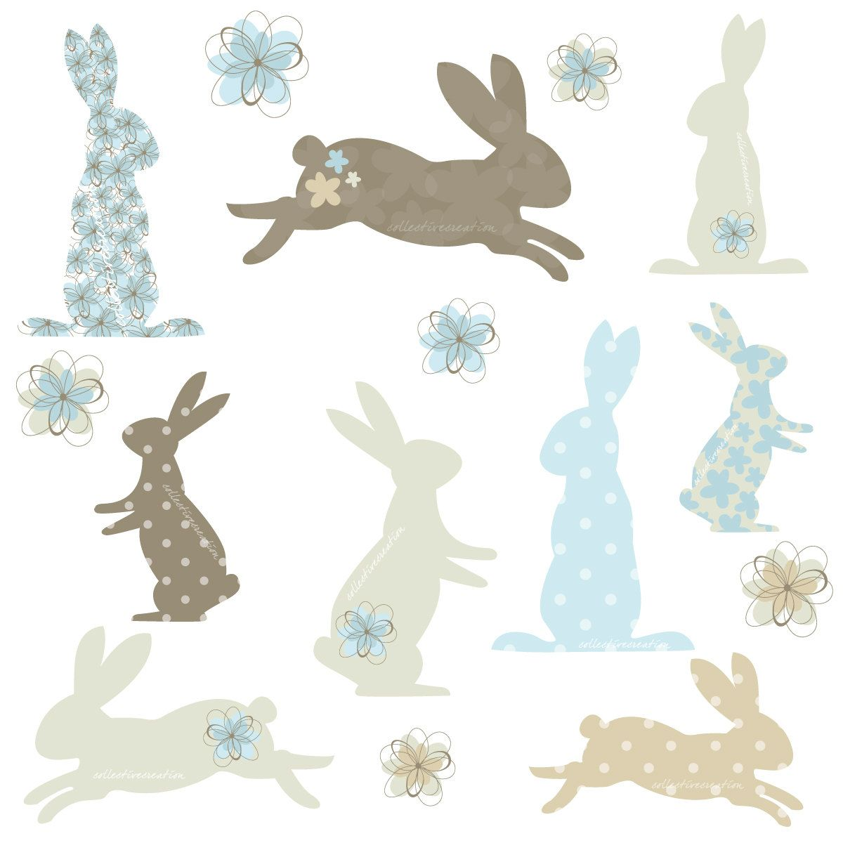 Bunny Rabbit Silhouettes With Patterns Clipart