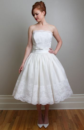 Image of Joy vintage inspired tea length wedding dress | tea ...