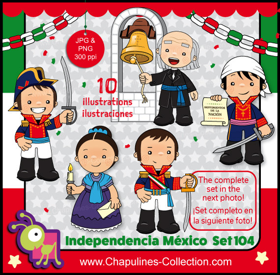 60 Off Mexican Independence Clip Art Heroes Mexico Clipart Etsy Clip Art School Illustration Children Illustration
