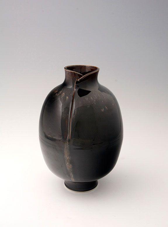 Brother Thomas Vase With Cut Rim Honan Tenmoku 13 5 X 9