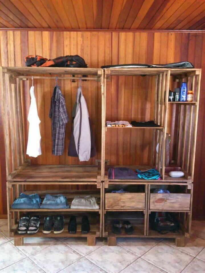 Closet de pallets organizator armario de palets - Palets muebles reciclados ...