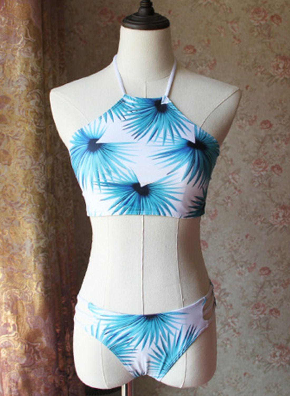 6f17db956391a Halter Top Strap Bottom Leaf Printed 2 Piece Swimwear - OASAP.com ...