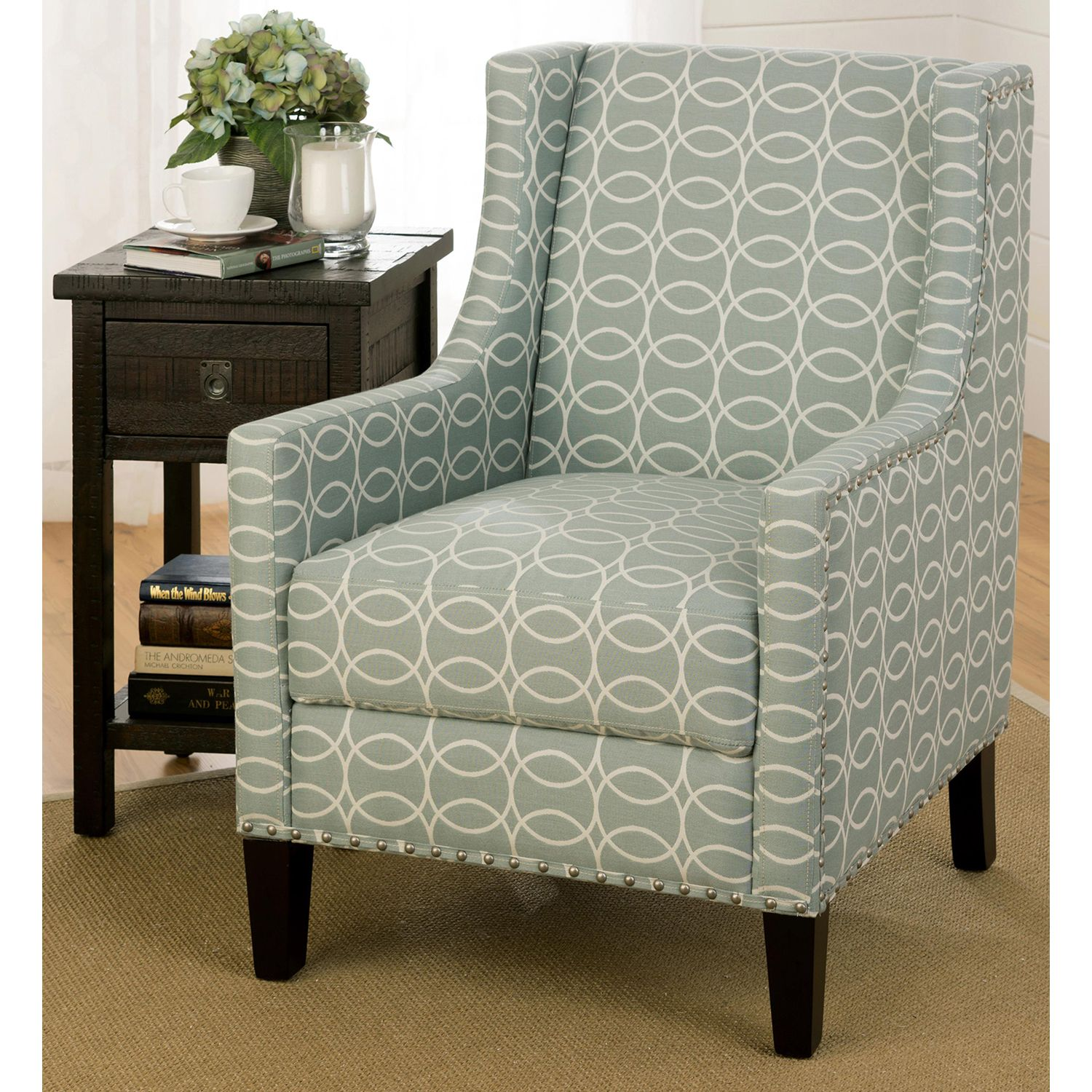 Best Josie Nailhead Accent Chair Light Blue And Gray Green 400 x 300