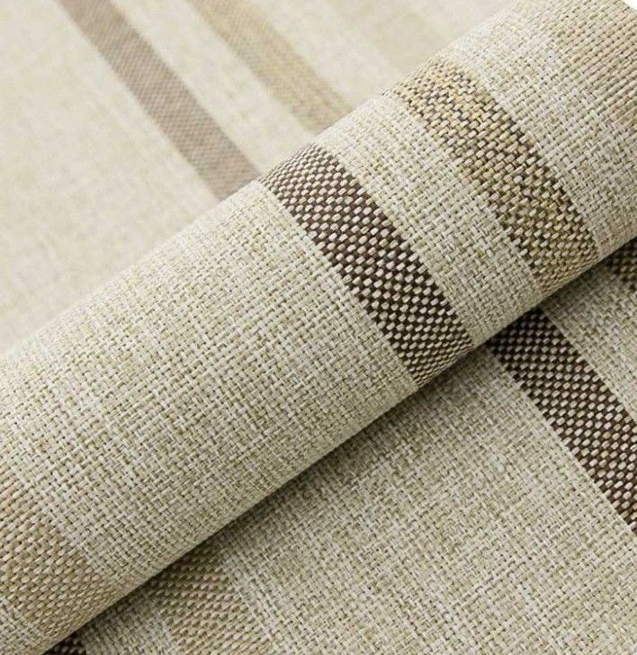 "5M PRESTIGIOUS SOFT THICK WOOL STRIPE UPHOLSTERY CURTAIN BEIGE FABRIC 54/""W"