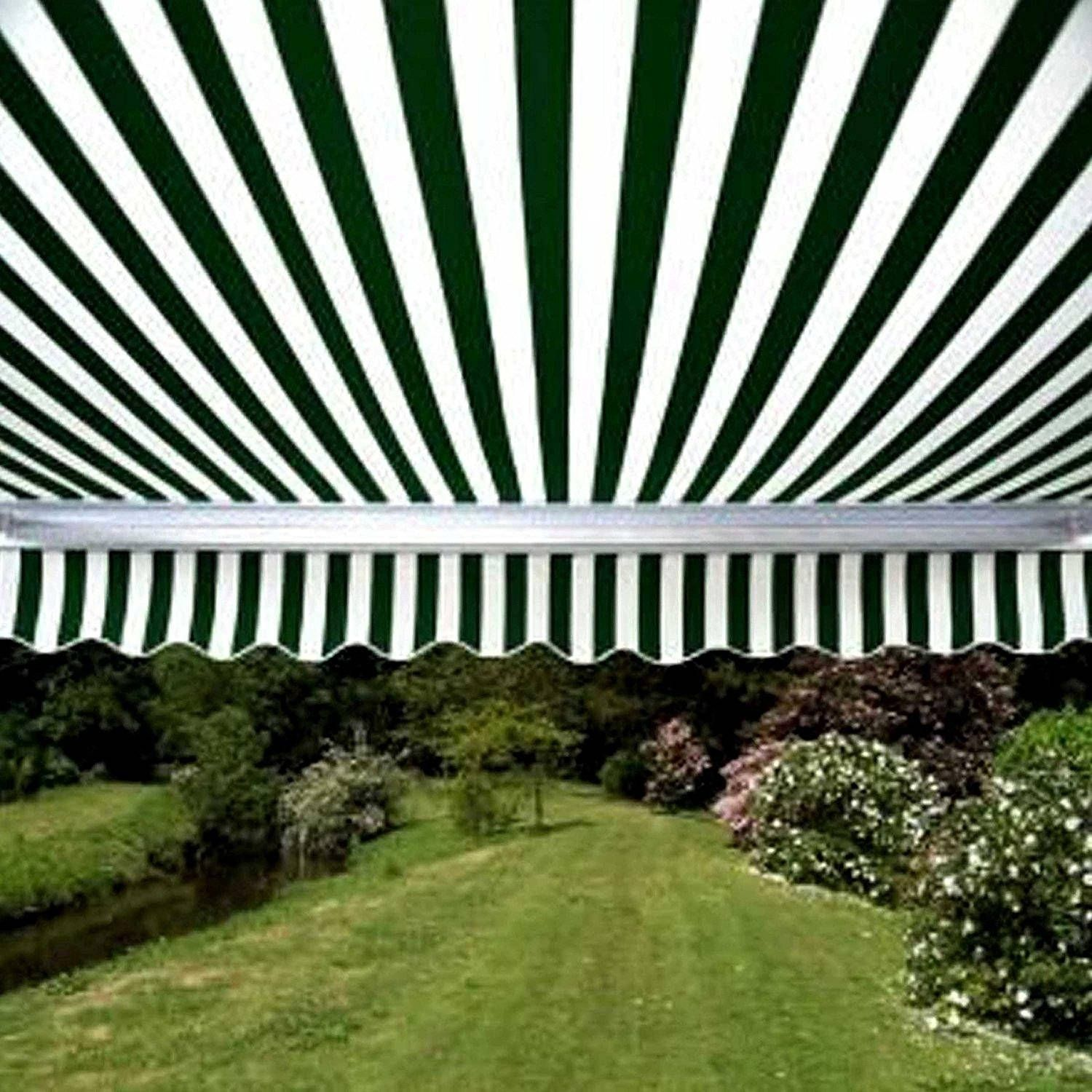 Aleko Motorized 20x10 Ft Retractable Outdoor Patio Awning Sunshade Green White Retractable Awning Outdoor Patio
