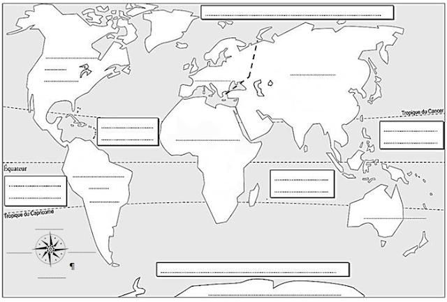 La Salle 208b 6eme Situer Les Principaux Reperes Introduction Planisphere A Completer Planisphere A Imprimer Planisphere