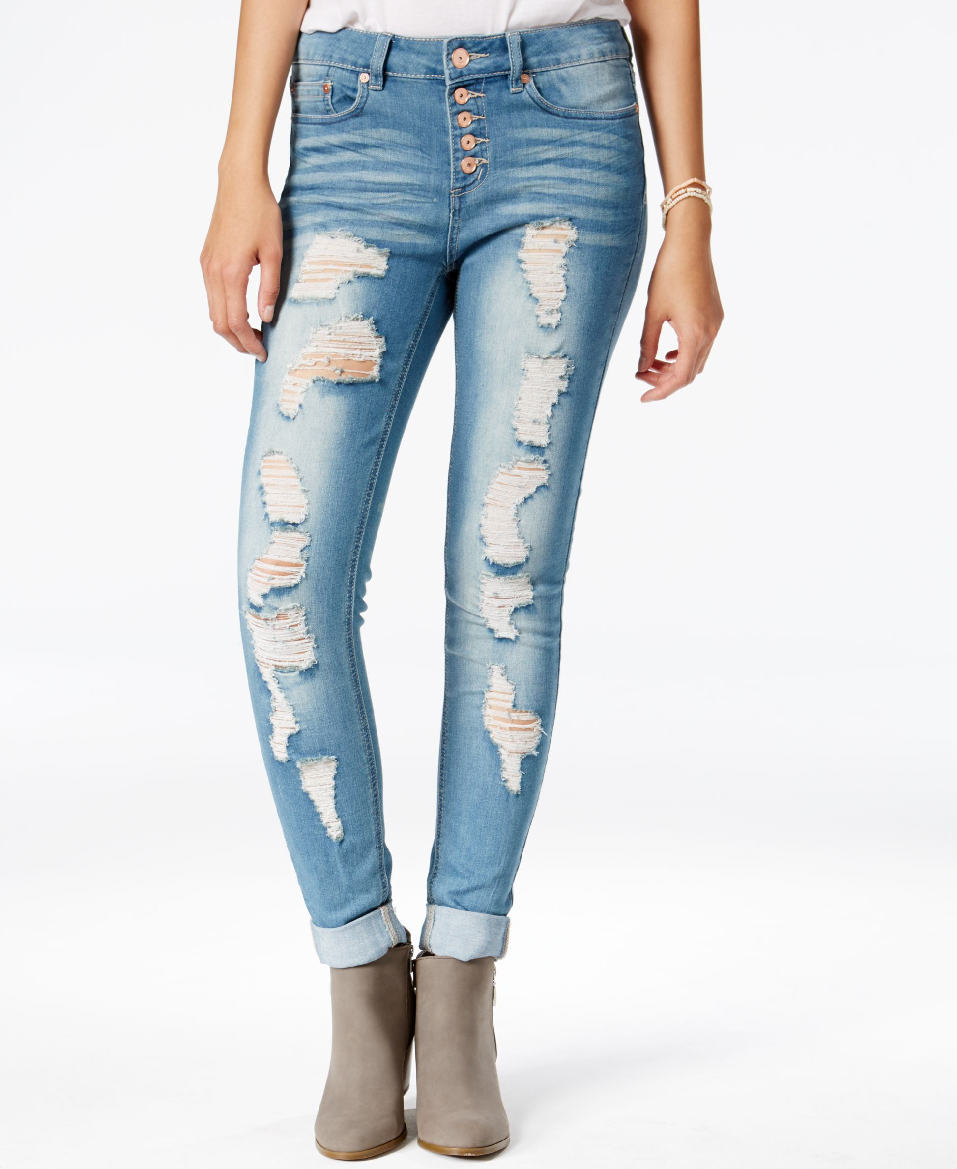 fa2a06527c Indigo Blue Juniors' Button-Front Super-Soft Ripped Skinny Jeans ...