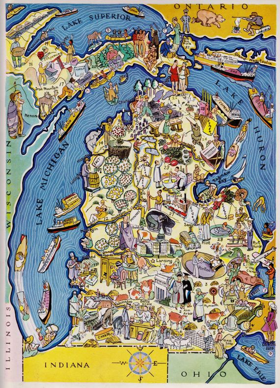 30\'s Vintage MICHIGAN Picture Map State Cartoon Map Print Gallery ...