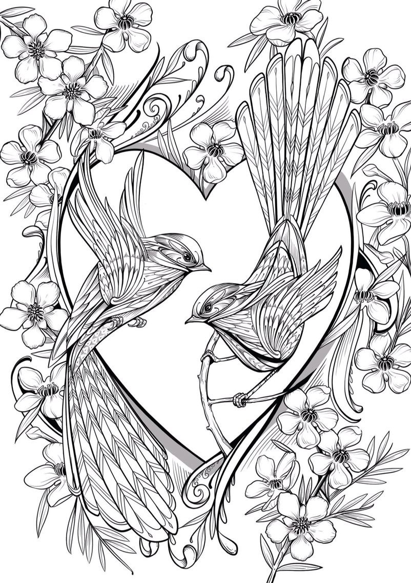 Love Birds Bird Coloring Pages Coloring Pages Grayscale Coloring