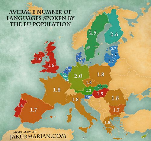 Mapsontheweb Average Number Of Languages Spoken By The EU - Languages by number of countries