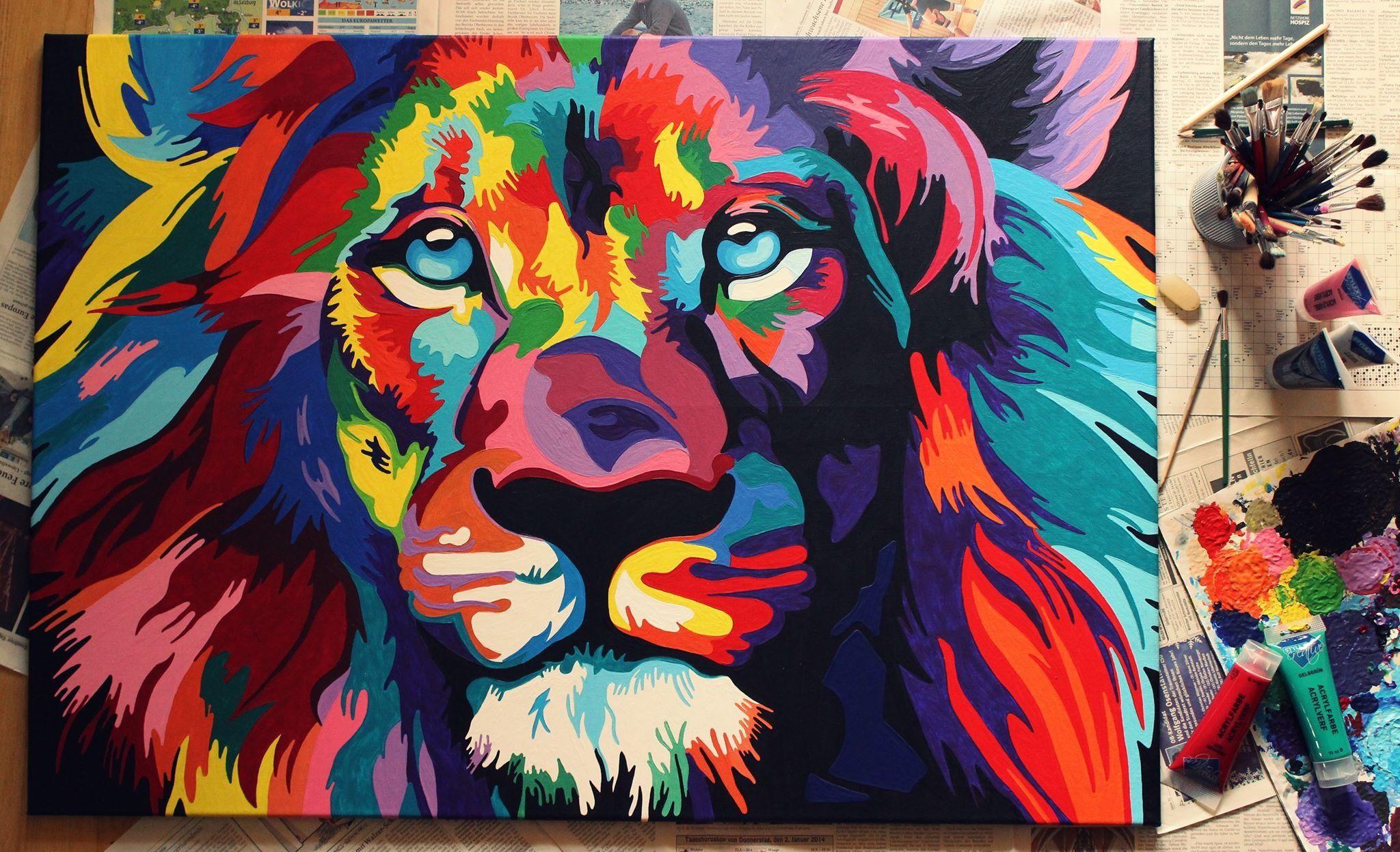 Malen Mit Acrylfarben Lowe In Bunt Pinsel Leinwand 100cm X 70cm