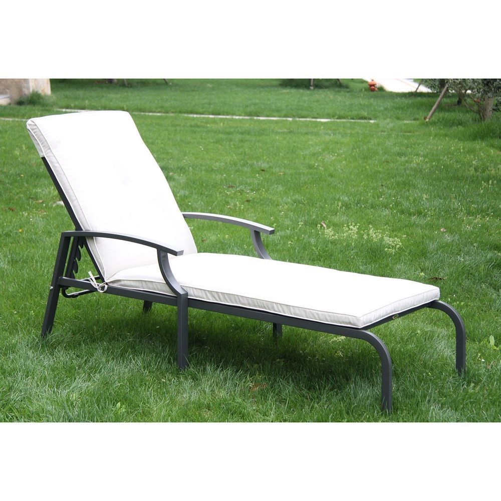 Lounge Gartenmöbel Porta Garden Chaise Lounge Patio Chair White Cushion Metal Frame Outdoor