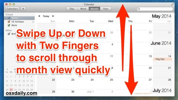 Navigate Calendar Faster in Mac OS X with Gestures