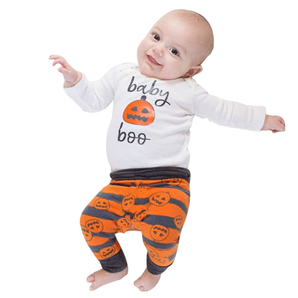 Newborn infant baby clothes set girl boy pumpkin romper top pants