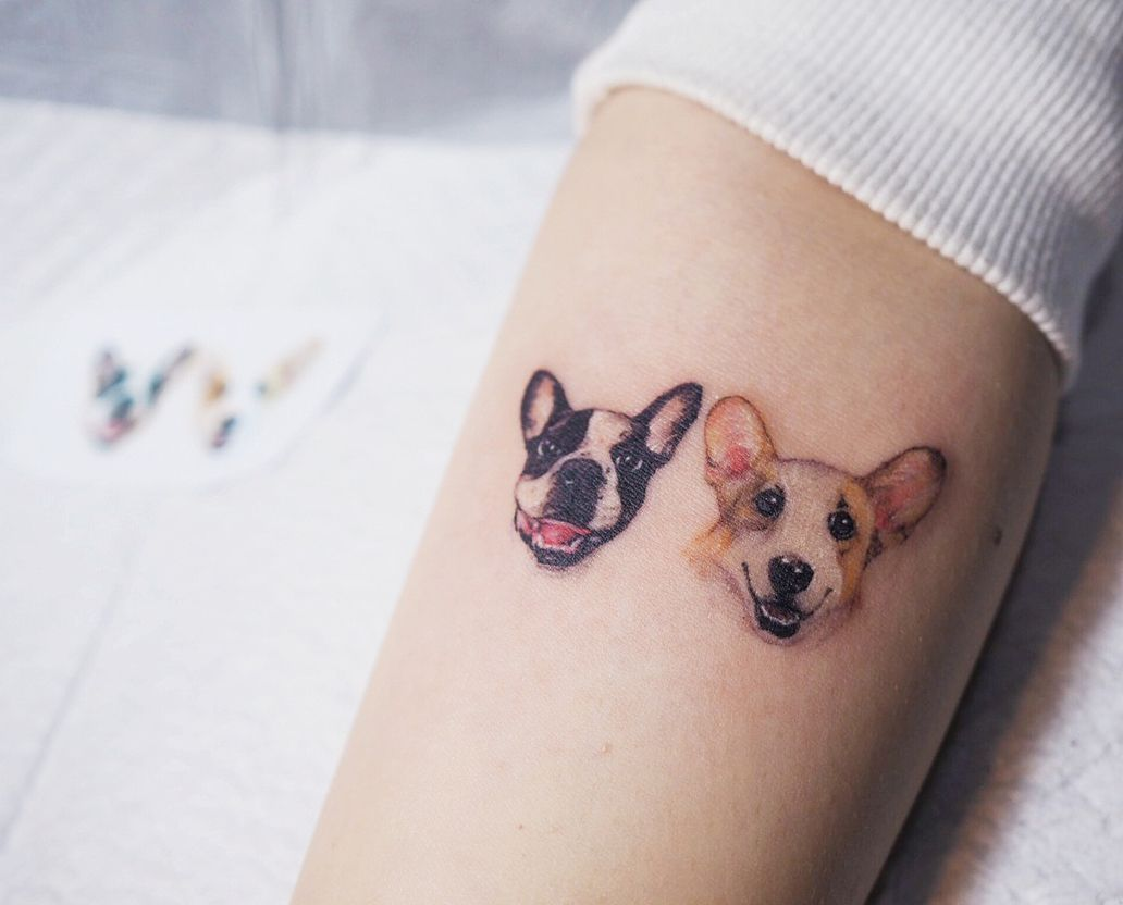 Tattoo Artist Yammy Color And Black And Grey Minimalistic Pets Tattoo Seoul Korea Inkpplcom Tattooartist Small Dog Tattoos Animal Tattoos Dog Tattoos