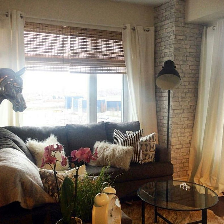 Cozy Room Brick Wall Beam Faux Sectional Decor Blinds Custom Curtain Ideas Living Condo