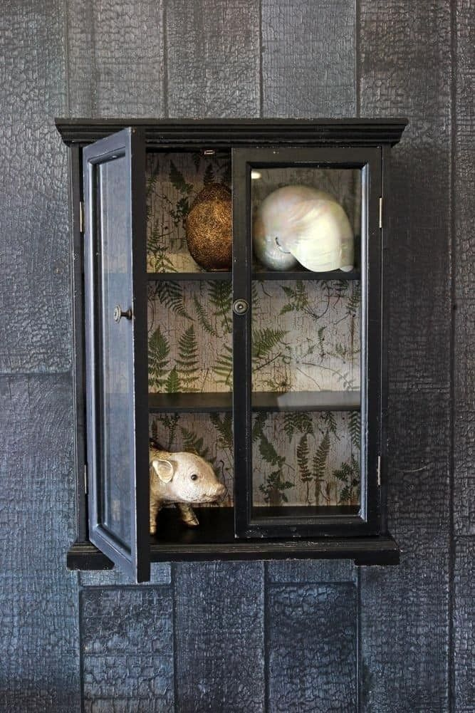 Baby Distressed Black Wall Cabinet with Botanical Lining ...