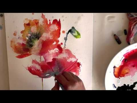 Watercolour Aquarelle Poppies Poppy Painting Demo Youtube