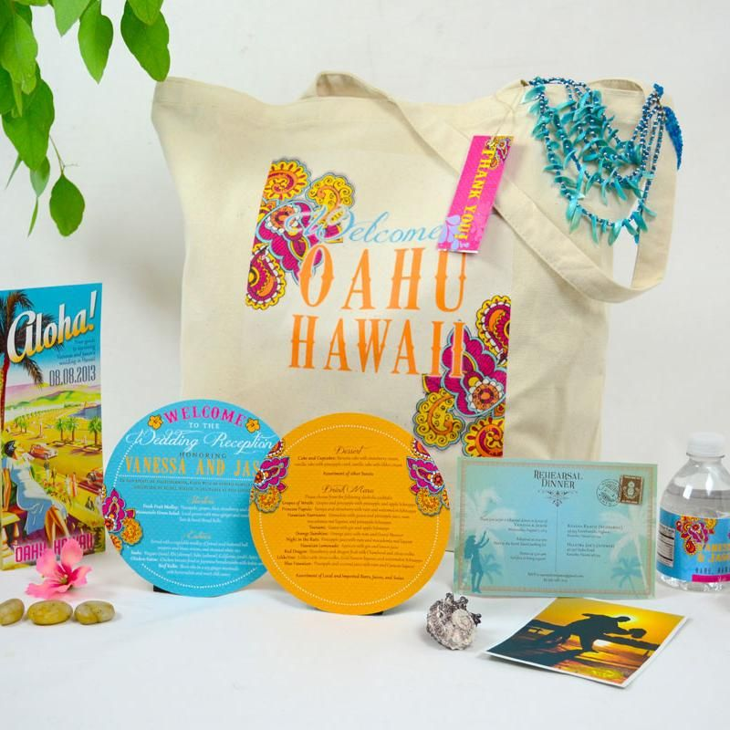 Custom Guest Gift Bags Swag Bag To Welcome Wedding Guests A Tropical