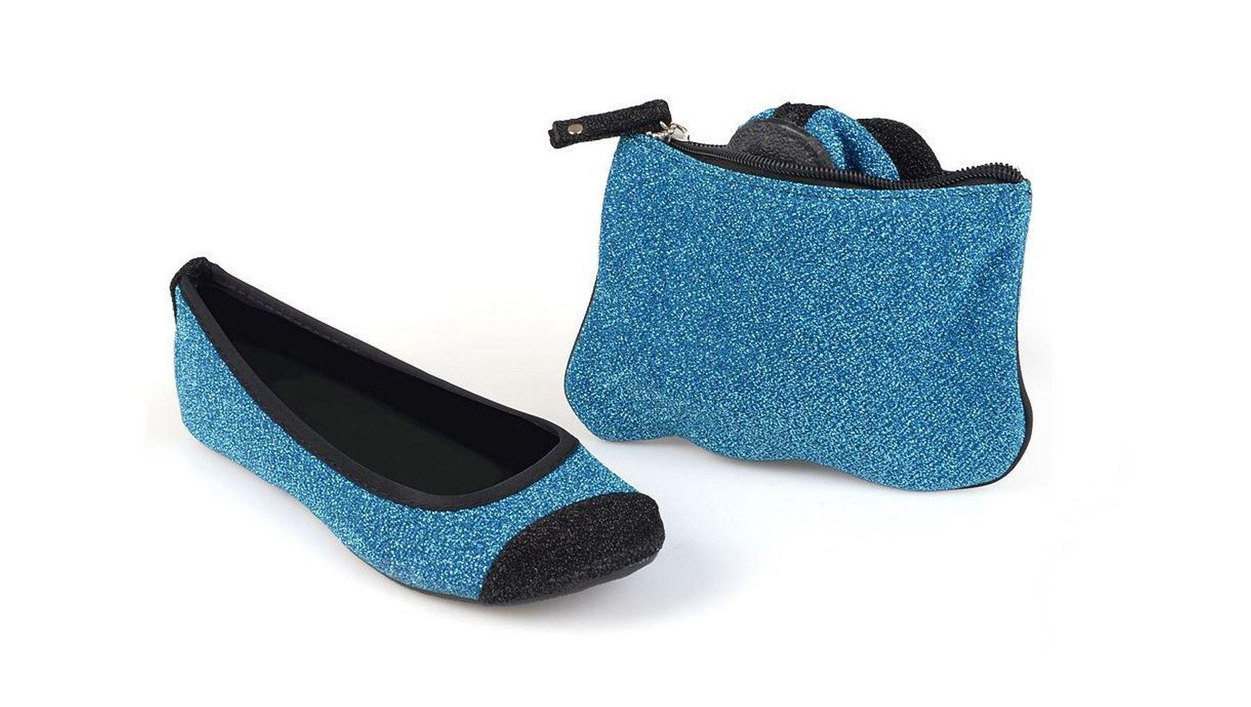 Sidekicks Energy Blue, Folding Ballet Flats
