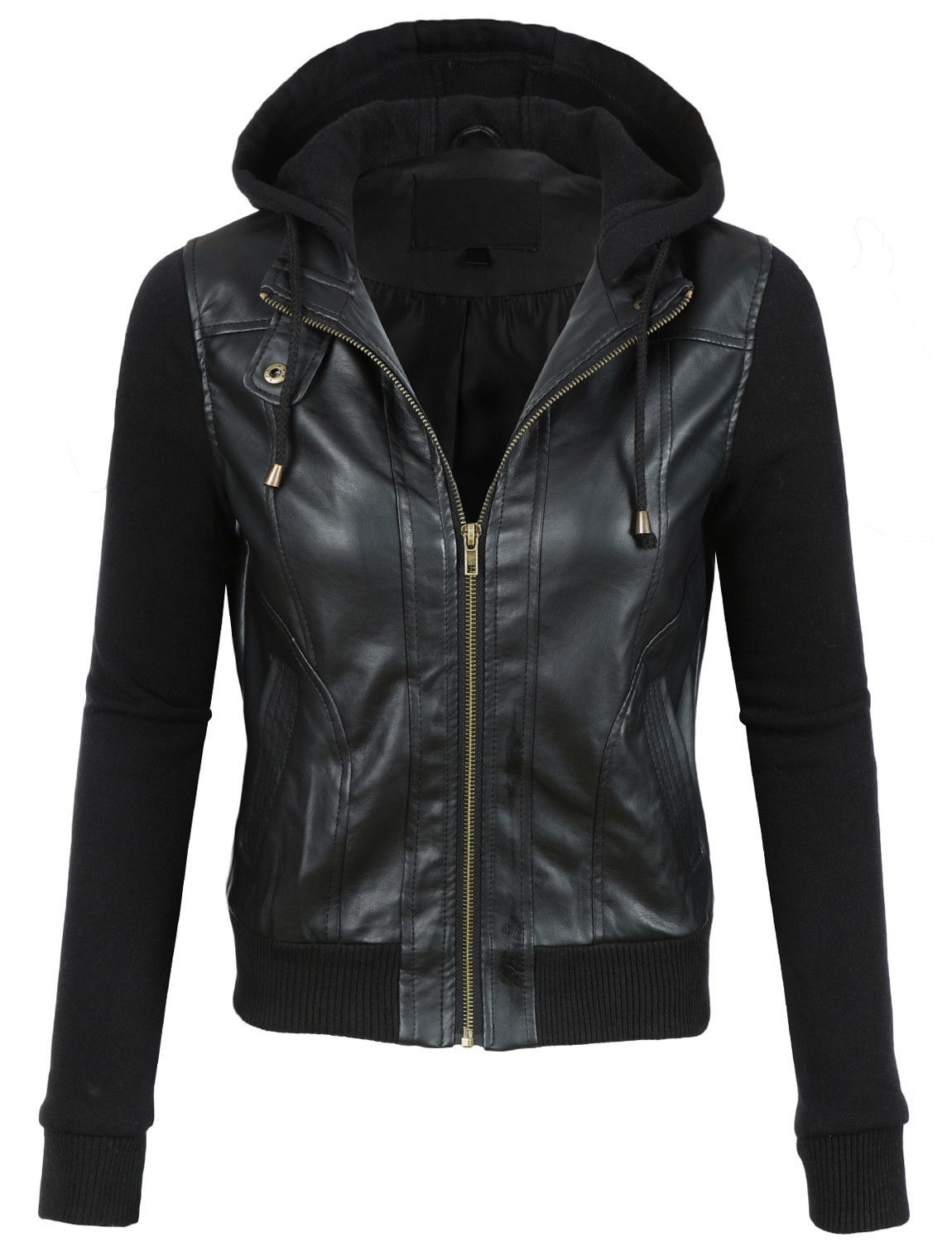 LE3NO Womens Faux Leather Moto Bomber Jacket with Fleece