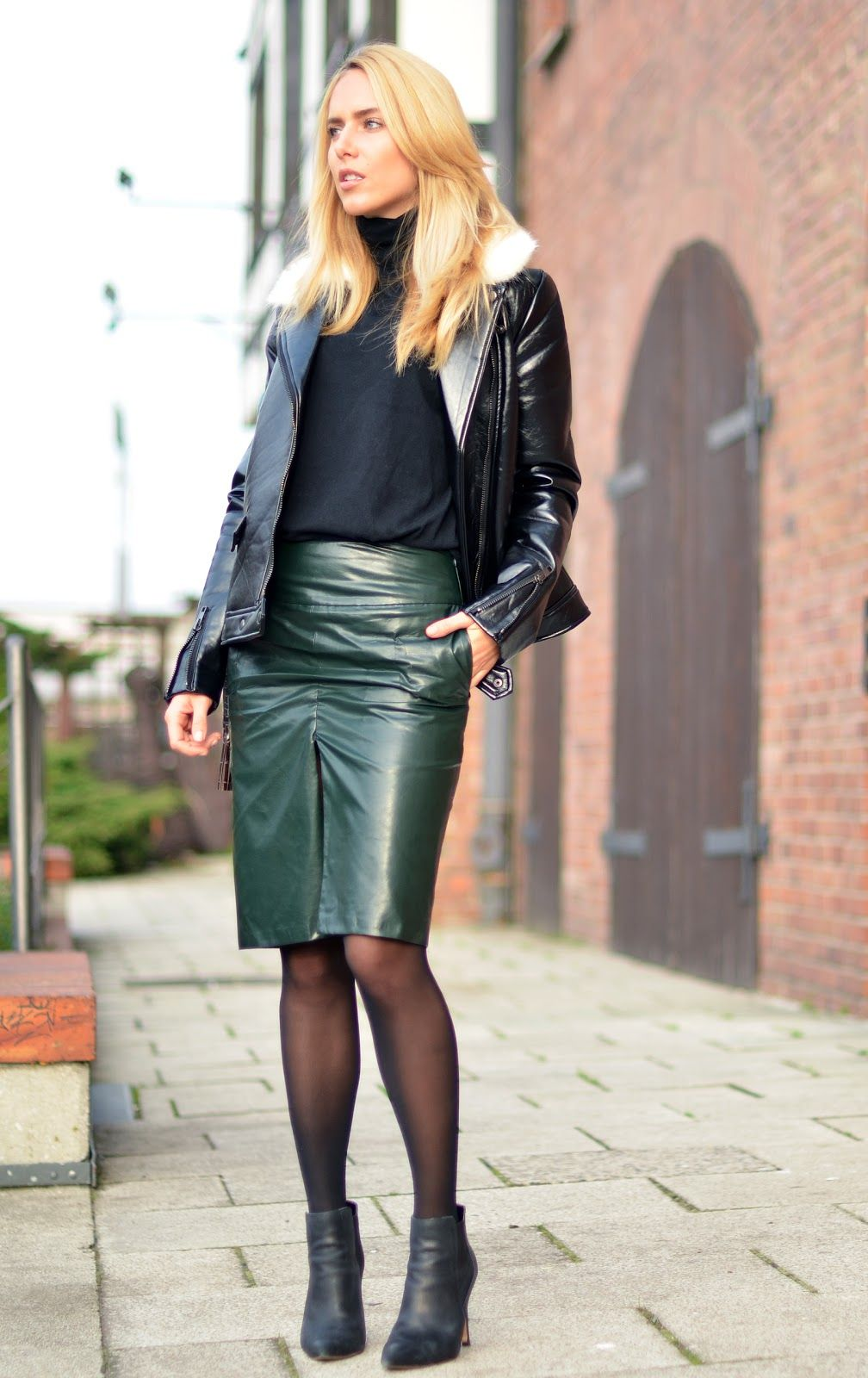 71f8dba4d4771 Green leather midi skirt black leather jacket ankle boots