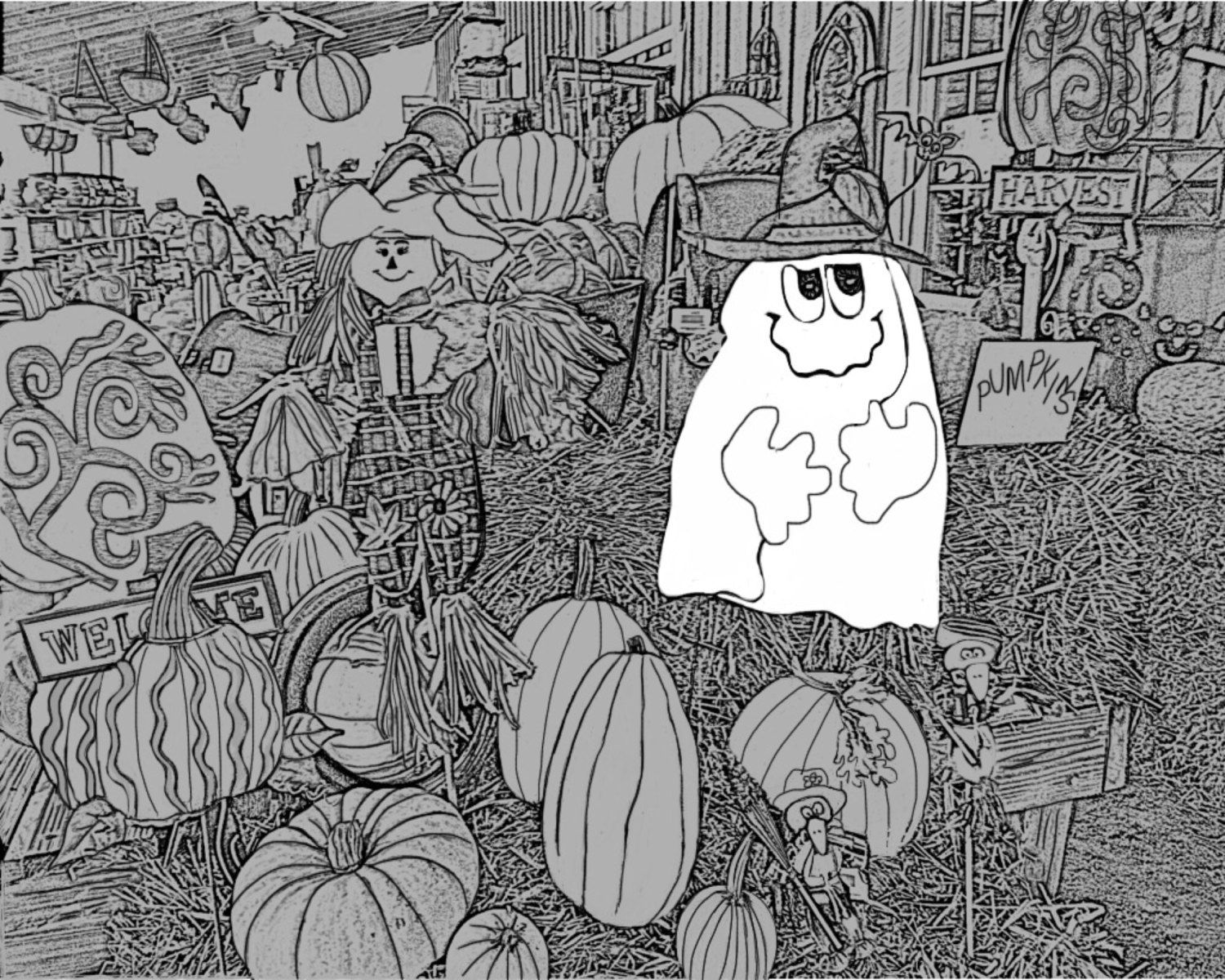 Ghost and scarecrow adult coloring pages gray scale printable