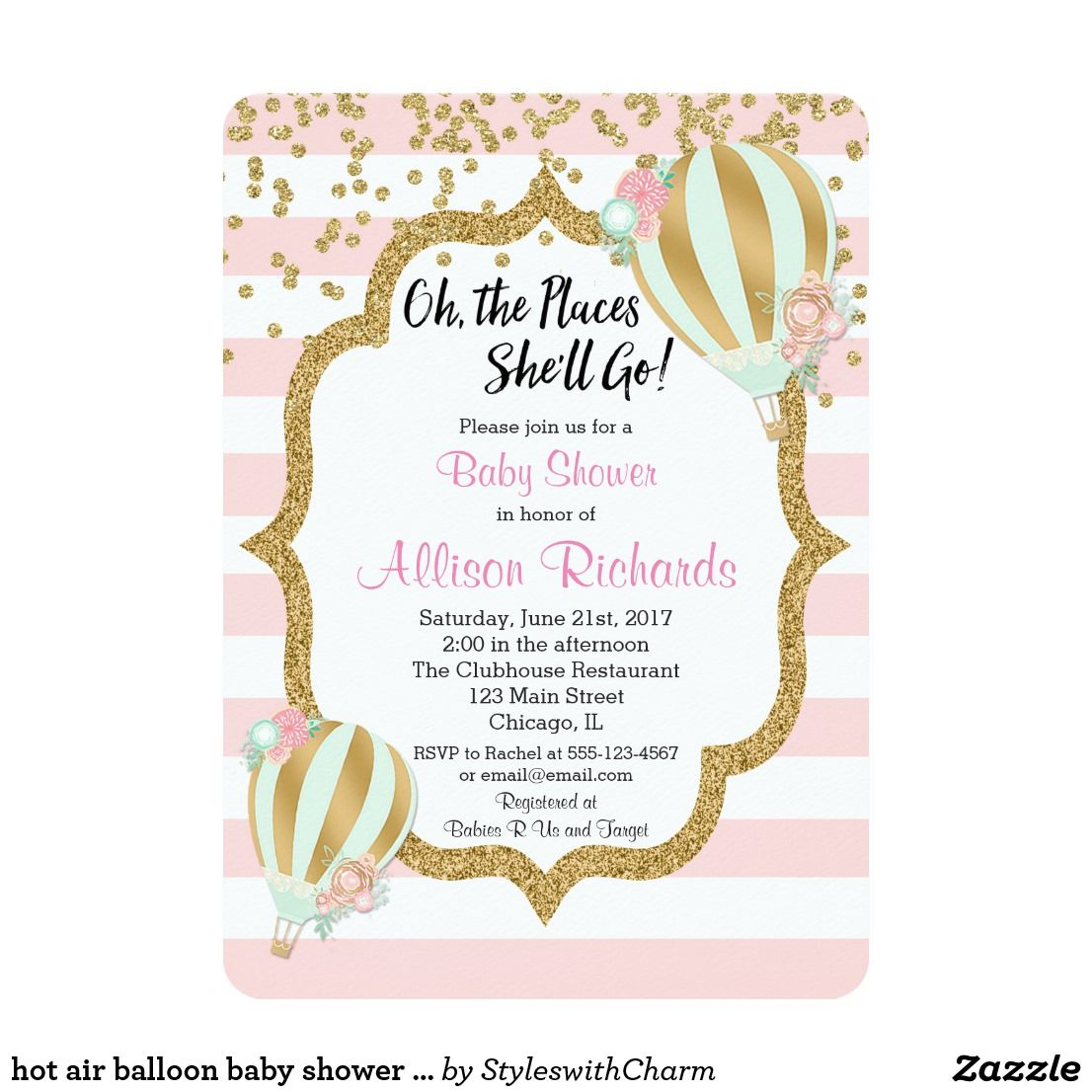 hot air balloon baby shower invitation pink gold For more advanced ...