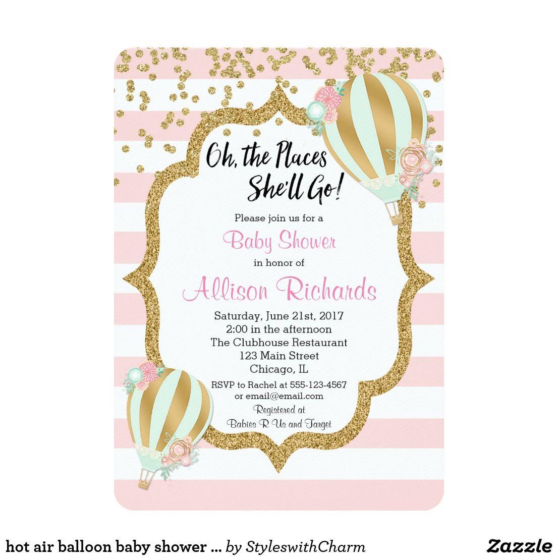 Hot air balloon baby shower invitation pink gold | Pinterest ...