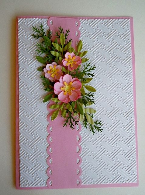 Paper Punch Floral Christmas Card Card Pinterest Cards
