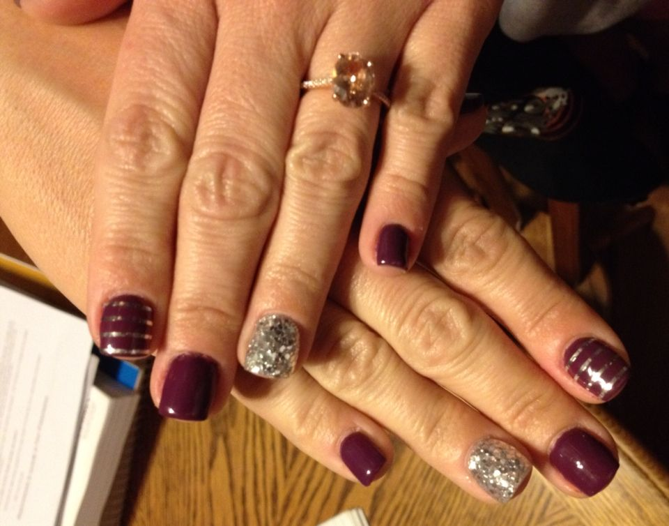 Fall Gel Nail Designs Purple And Silver Only I Would Want Gold Or