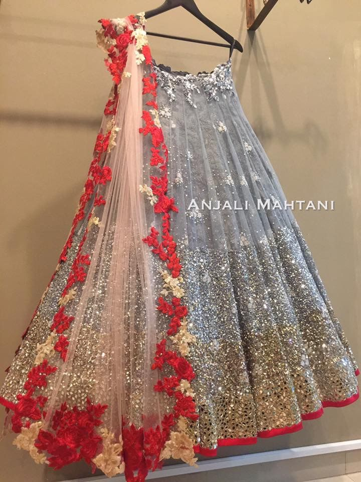 099abf3914 Grey sequin lehenga with Red floral border sheer dupatta! | Indian ...