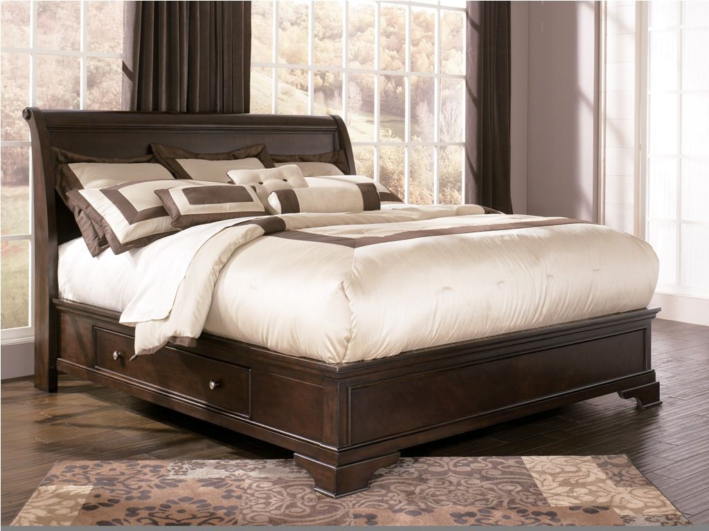 king size storage bed ashley leighton storage sleigh bed b577 king size beds - King Size Bed With Storage