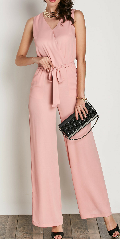 088a79e5656e Beautiful Women Belted V Neck Pink Sleeveless Jumpsuit  ad  womenfashion   summerstyle  jumpsuits  pink  plussize  plussizefashion  casualoutfit