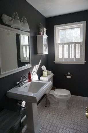 Traditional Powder Room With Hunter Douglas Newstyle Hybrid