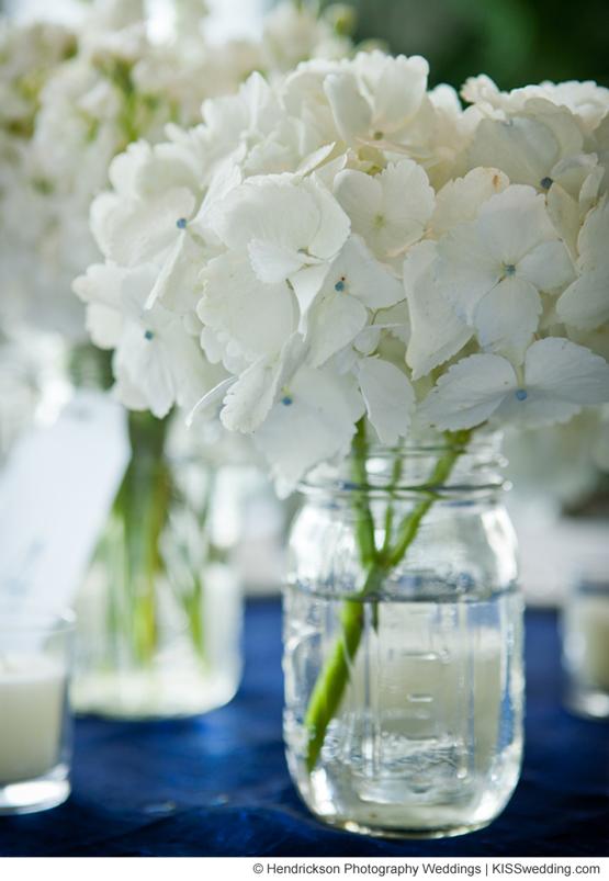 white hydrangeas in mason jars